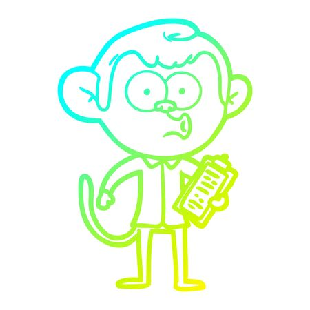 cold gradient line drawing of a cartoon salesman monkey Ilustrace