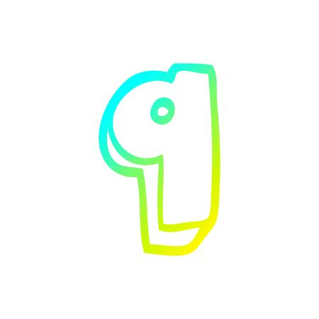 cold gradient line drawing of a cartoon number nine