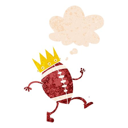 football with crown cartoon  with thought bubble in grunge distressed retro textured style
