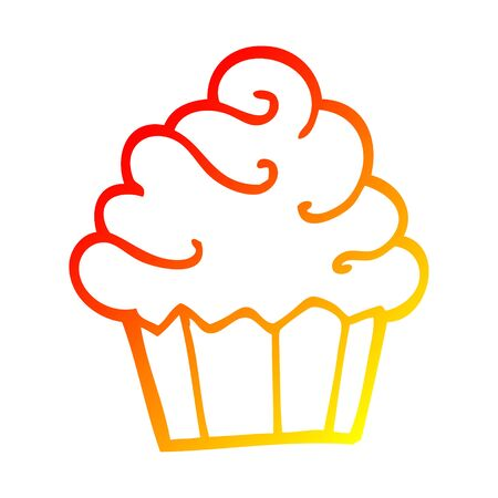 warm gradient line drawing of a cartoon cupcake Ilustrace