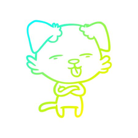 cold gradient line drawing of a cartoon dog sticking out tongue