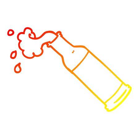 warm gradient line drawing of a cartoon foaming beer bottle