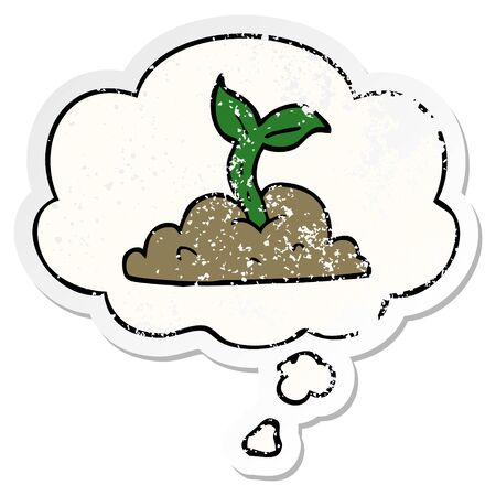 cartoon growing seedling with thought bubble as a distressed worn sticker