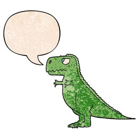 dinosauro cartone animato con nuvoletta in stile texture retrò
