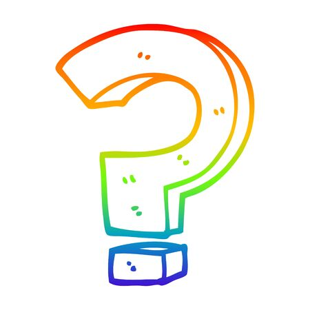 rainbow gradient line drawing of a cartoon question mark Stockfoto - 130383409