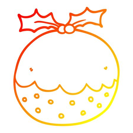 warm gradient line drawing of a cartoon christmas pudding