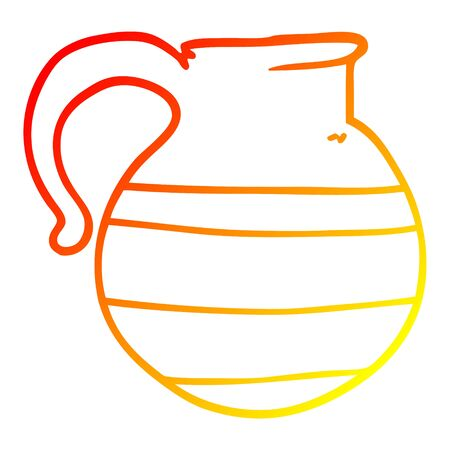 warm gradient line drawing of a cartoon striped jug Иллюстрация