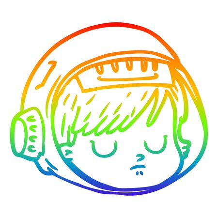 rainbow gradient line drawing of a cartoon astronaut face Vectores