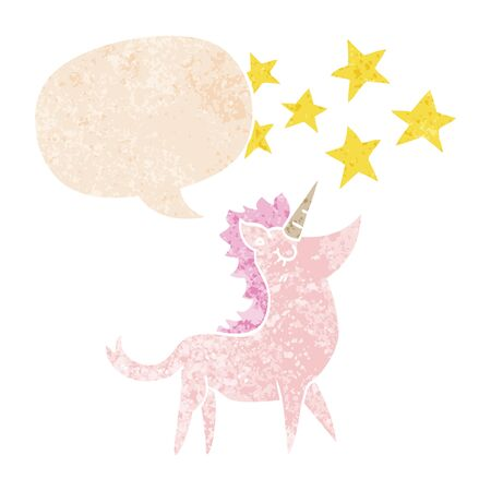 cartoon unicorn with speech bubble in grunge distressed retro textured style
