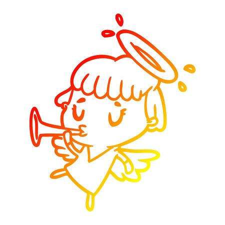 warm gradient line drawing of a cute angel