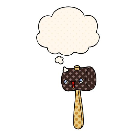 cartoon mallet with thought bubble in comic book style