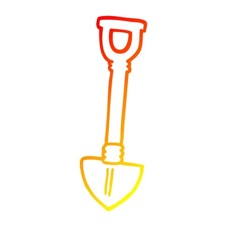 warm gradient line drawing of a cartoon shovel