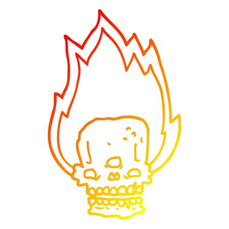 warm gradient line drawing of a spooky cartoon flaming skull Stock fotó - 130383607