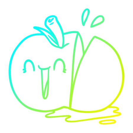 cold gradient line drawing of a happy cartoon sliced apple
