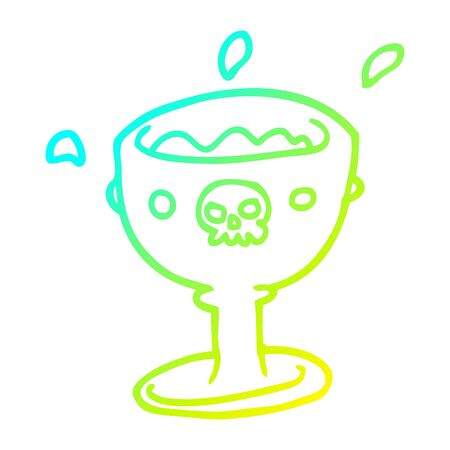 cold gradient line drawing of a spooky cartoon goblet of blood