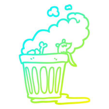 cold gradient line drawing of a cartoon smelly garbage can Ilustração