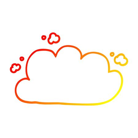 warm gradient line drawing of a cartoon storm cloud