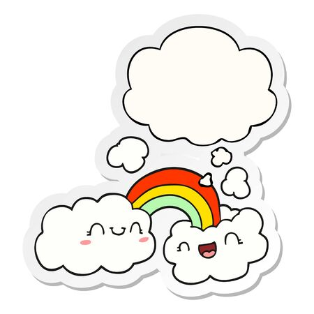 happy cartoon clouds and rainbow with thought bubble as a printed sticker Çizim