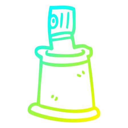 cold gradient line drawing of a cartoon aersol can