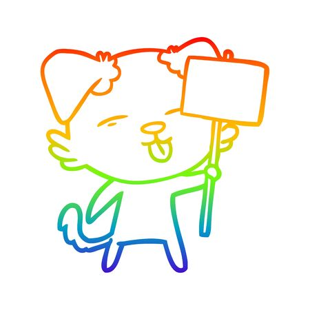 rainbow gradient line drawing of a cartoon dog holding sign post Иллюстрация