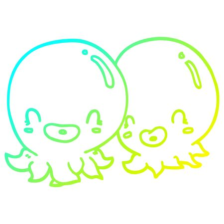 cold gradient line drawing of a two cartoon octopi