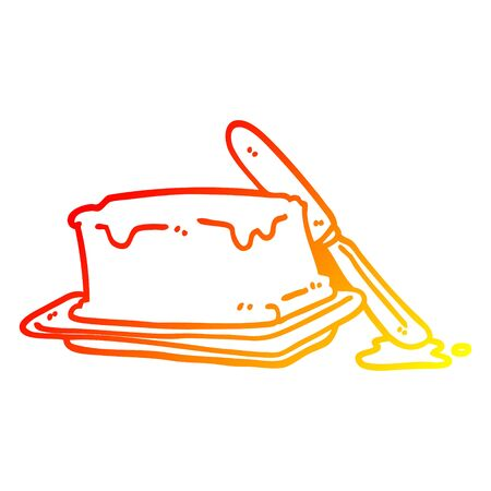 warm gradient line drawing of a cartoon butter and knife