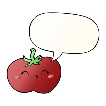 cartoon tomato with speech bubble in smooth gradient style
