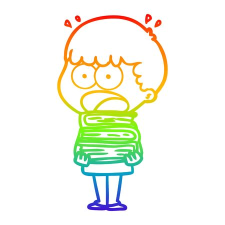 rainbow gradient line drawing of a cartoon shocked boy with stack of books