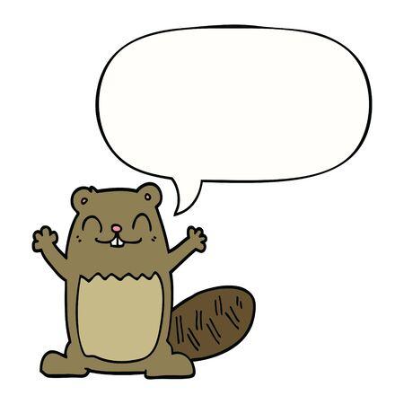 Castor de dibujos animados con globo de discurso