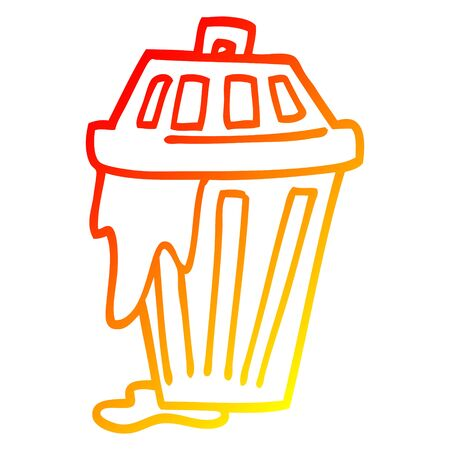 warm gradient line drawing of a cartoon waste bin
