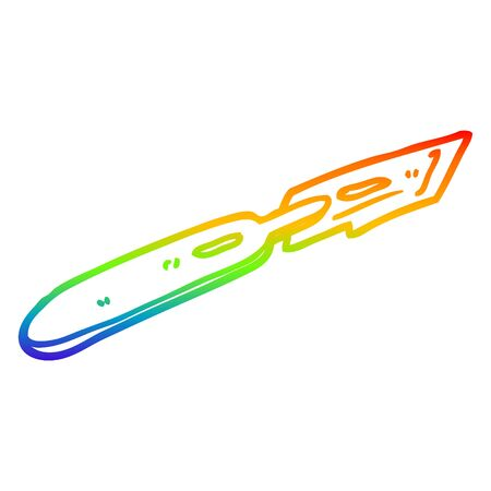 rainbow gradient line drawing of a cartoon surgeon blade