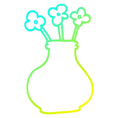 cold gradient line drawing of a cartoon flower vase