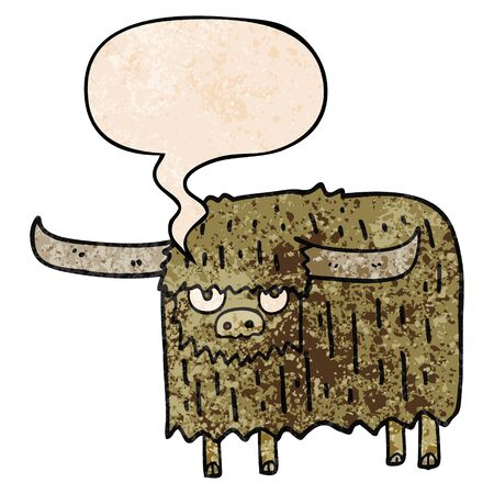cartoon hairy cow with speech bubble in retro texture style