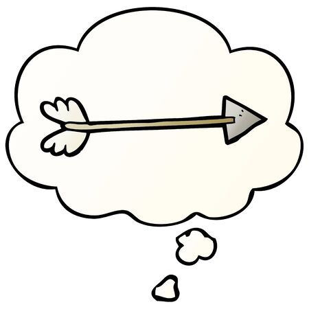 cartoon arrow with thought bubble in smooth gradient style