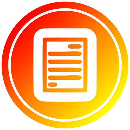 official document circular icon with warm gradient finish