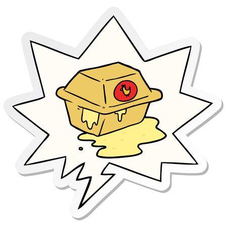 cartoon take out fried chicken with speech bubble sticker Banco de Imagens - 130383627