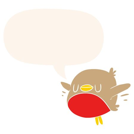 cute cartoon christmas robin with speech bubble in retro style