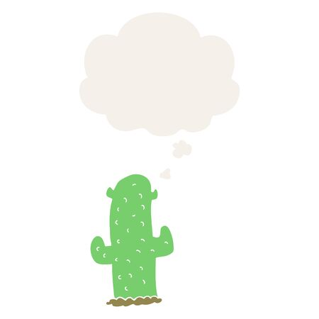cartoon cactus with thought bubble in retro style