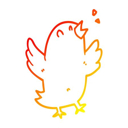 warm gradient line drawing of a cartoon bird singing