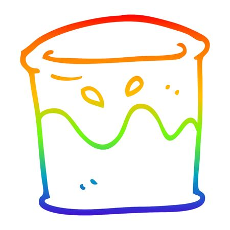 rainbow gradient line drawing of a cartoon drink in tumbler