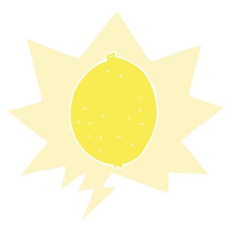 cartoon lemon with speech bubble in retro style Stok Fotoğraf - 130383826
