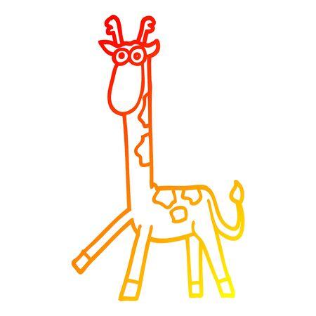 warm gradient line drawing of a cartoon walking giraffe Foto de archivo - 130383832