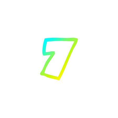 cold gradient line drawing of a cartoon number seven