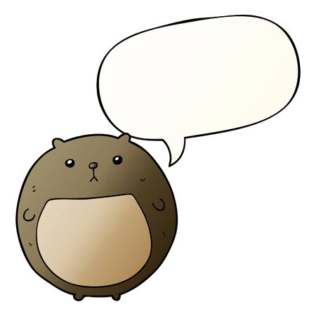 cartoon bear with speech bubble in smooth gradient style Stock fotó - 130383855