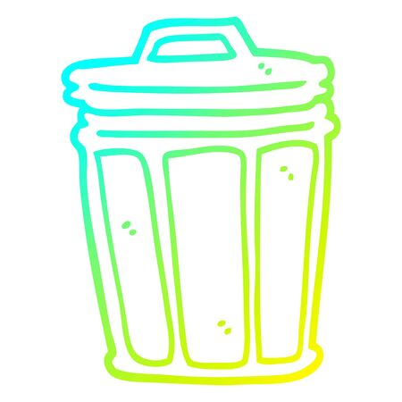 cold gradient line drawing of a cartoon trash can