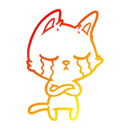 warm gradient line drawing of a crying cartoon cat with folded arms 向量圖像