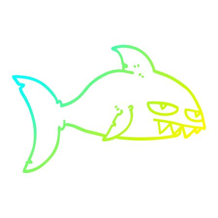 cold gradient line drawing of a cartoon deadly shark