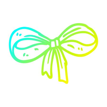 cold gradient line drawing of a cartoon tied bow