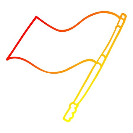 warm gradient line drawing of a cartoon flag Stock Illustratie