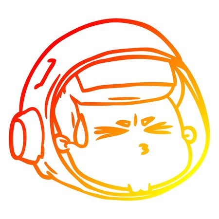 warm gradient line drawing of a cartoon stressed astronaut face